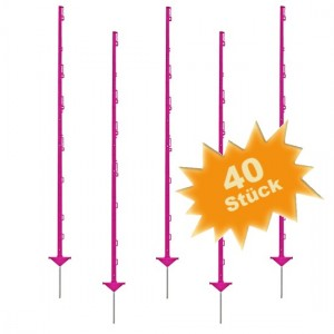 40 x Growi Weidezaunpfahl Pink / 1,56 m
